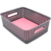 """Advantus® Plastic Weave Bin Medium 40327 - 13-3/4""""L x 10-1/2""""W x 4-1/2""""H Black, 2-Pack"""