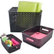 """Advantus® Plastic Weave Bin Small Medium Large 40329 - 13-3/4""""L x 10-1/2""""W x 8-3/4""""H, 3-Pack"""