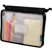 Advantus® Expanding Zipper Pouch, Clear Mesh, Black - Pkg Qty 12