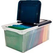 "Advantus® Plastic Letter File Tote 55797 - 23-1/2""L x 14-1/2""W x 11-1/4""H, Clear/Navy"