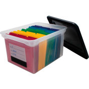 "Advantus® Plastic Letter & Legal File Tote  5802 - 18""L x 14-1/8""W x 10-13/16""H, Clear/Black"