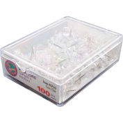 GEM Push Pins, Clear, 100/BX - Pkg Qty 10