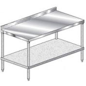 "Aero Manufacturing 2TGS-3024 - 14 Ga Workbench 304 Stainless 2-3/4"" Backsplash & Galv Shelf 24 x 30"