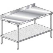 "Aero Manufacturing 3TGB-2472 16 Ga Workbench Stainless Steel 4"" Backsplash & Galv Undershelf 72 x 24"