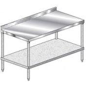 "Aero Manufacturing 4TGS-30144 144""W x 30""D Stainless Steel Workbench, 2-3/4"" Backsplash, Galv. Shelf"