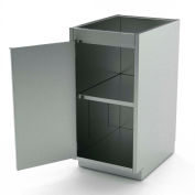 "Aero Manufacturing Stainless Steel Base Cabinet BC-1102 - 1 Hinged Door, 1 Shelf, 18""W x 21""D x 36""H"