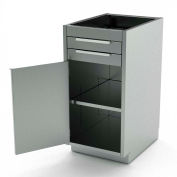 Aero Stainless Steel Base Medical Cabinet BC-1500 - 1 Hinged Door 1 Shelf 2 Drawers, 18x21x36