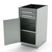 Aero Stainless Steel Base Medical Cabinet BC-1500 - 1 Hinged Door 1 Shelf 2 Drawers, 18x21x36