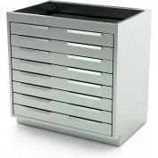 """Aero Manufacturing Stainless Steel Base Cabinet BC-3500 - 8 Drawers, 30""""W x 21""""D x 36""""H"""