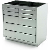 "Aero Manufacturing Stainless Steel Base Cabinet BC-3701 - 8 Drawers, 36""W x 21""D x 36""H"