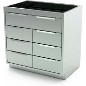 """Aero Manufacturing Stainless Steel Base Cabinet BC-3902 - 7 Drawers, 42""""W x 21""""D x 36""""H"""