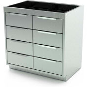 """Aero Manufacturing Stainless Steel Base Cabinet BC-4000 - 8 Drawers, 30""""W x 21""""D x 36""""H"""