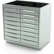 """Aero Manufacturing Stainless Steel Base Cabinet BC-4201 - 16 Drawers, 36""""W x 21""""D x 36""""H"""