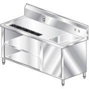 """Aero Manufacturing BVT-60 14 Gauge Beverage Table 304 Stainless Steel - Right Sink 60""""W x 30""""D"""