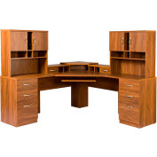 American Furniture Classics - L Workcenter W/Monitor Platform & 2 Hutches, Oak