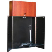 Lockable i-Center™ w/ Wall-Mount CPU Enclosure & Z-arm Combo - Mahogany