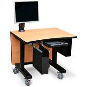 "Single Tier Cart™ Rectangular w/ Back Panel- Natural Pear 36""Wx 30""Dx 36""H"