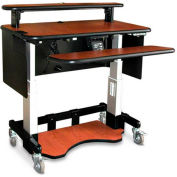 "Single Tier Cart™ Rectangular w/ Metal Panel - Mahogany 48""W x 24""D x 36""H"