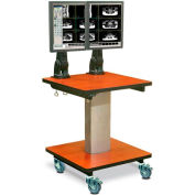 "Telescopic Cart™ w/ 2 Monitor Arms - Mahogany 24""W x 24""D x 28""H"