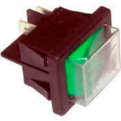 Rocker Switch, 125V, 20A, Black W/Green Light, For Cadco, 9032
