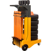 """Banner Stakes Standard Cart Package, Orange """"Keep Area Clear"""" Banner"""