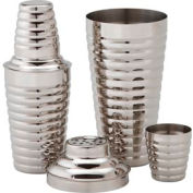 Alegacy CS477WC - 16 Oz. Cocktail Shaker With Cover And Strainer, Grooved - Pkg Qty 12