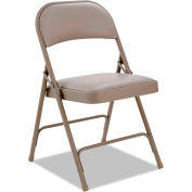Alera Steel Folding Chair With Padded Back and Seat Tan 4 Pack