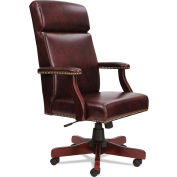 Alera Traditional Series High-Back Chair Mahogany Finish/Oxblood Vinyl