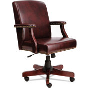 Alera Traditional Series Mid-Back Chair Mahogany Finish/Oxblood Vinyl