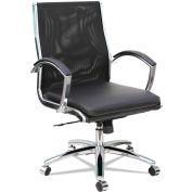 Alera® Mesh Mid-Back Slim Profile Chair - Leather - Black - Neratoli Series