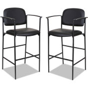 Alera® Faux Leather Stool With Arms - Black - Sorrento Series - 2/Pack