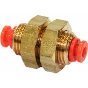 """Smc® Bulkhead Union Kq2e07-00m-X12, Kq2 Series, 1/4"""" O.D. - Pkg Qty 10"""