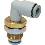 "Smc® Bulkhead Male Elbow Kq2le09-00-X16, Kq2 Series, 5/16"" O.D. - Pkg Qty 10"