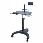 Aidata LPD502P Sit/Stand Mobile Laptop Workstation with Tablet Holder