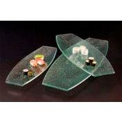 American Metalcraft BG207 - Glacier Platter, 20 x 7, Boat Shape, Flat, Bubble Glass, Green