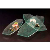 American Metalcraft BG249 - Glacier Platter, 24 x 9, Boat Shape, Flat, Bubble Glass, Green