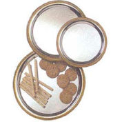 "American Metalcraft GBTR14 - Affordable Elegance Serving Tray, Round, 14"" Dia., Chrome, Gold Trim"