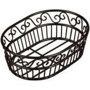 "American Metalcraft OSC9 - Bread Basket, 6"" x 9"", Oval, Black Scroll Design"