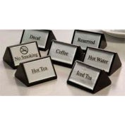 American Metalcraft SIGNR6 - Reserved Sign, Triangular, 3 x 1-3/4 Double Sided, Black, Silver Labels