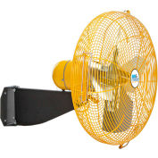 """Airmaster Fan 24"""" Wall Mount Yellow Safety Fan With Safety Cable 10401K 1/3 HP 5280 CFM"""