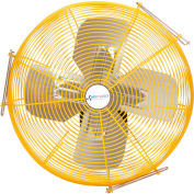 "Airmaster Fan 30"" Channel Mount Yellow Safety Fan - 2 Speed Drop Cord Switch 10736K 1/3 HP 6915 CFM"