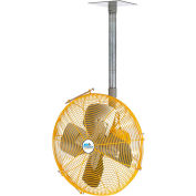 "Airmaster Fan 24"" Ceiling/Bench Mount Yellow Safety Fan - Drop Cord Switch 10738K 1/3 HP 5280 CFM"
