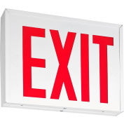 Lithonia Lighting LXNY W 3 R EL M4, LED Steel Exit Sign, 2W, Single or Double Face w/Battery, White