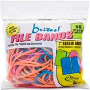 "Alliance® Brites® File Bands, 7"" x 1/8"", Assorted, 50/Pack"