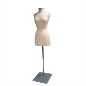 Female 3/4 Body Form - Off White W/Satin Chrome Metal Base