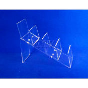 "Acrylic Clutch Bag Display, 4""W x 11-1/8""D x 8-1/2""H, 2-1/2"" Spaces, Clear"