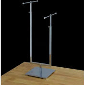 """2-Tier Jewelry Stand, Adjustable, 15""""- 25"""" or 18""""- 29"""" H, Metal, Chrome"""