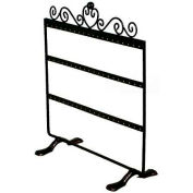 "Antique Style Earring Display, 3 Tier, 10"" W x 10-1/2"" H, Square Shaped, Metal, Black"