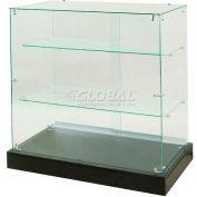 """Frameless Glass Showcase, Full Vision, 36""""W x 20""""D x 38""""H, 2 Shelves"""