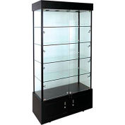 """Lighted Glass Tower Showcase - Fully Assembled - 40""""W x 18""""D x 73""""H - Black"""